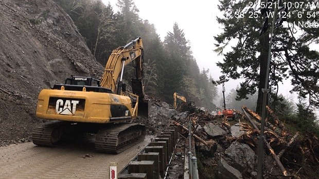 Debris removal continues after another slide hit Sunday night. - CALTRANS