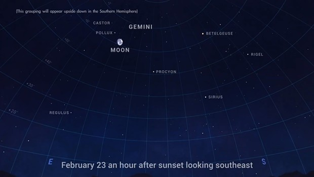 The moon visits the bright stars of Gemini on Feb. 23. - NASA/JPL-CALTECH