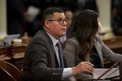 Assemblyman Rudy Salas on the floor on September 12, 2019. - PHOTO BY ANNE WERNIKOFF FOR CALMATTERS