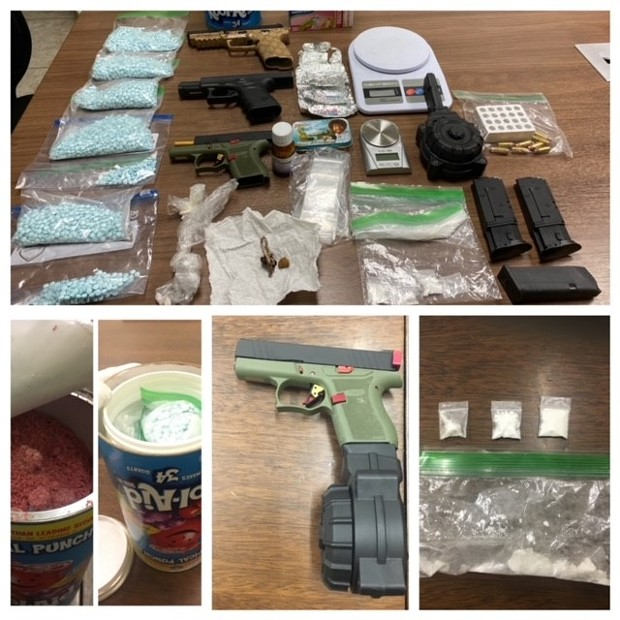 Fentanyl, cocaine and firearms seized as a part of a weeks long investigation stemming from a string of fentanyl overdoses. - HUMBOLDT COUNTY DRUG TASK FORCE