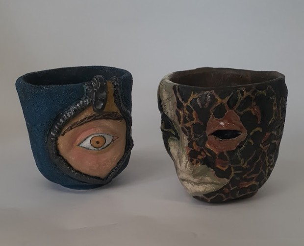 """Holly Sepulveda's ceramic """"Face Planters."""" - COURTESY OF THE ARTIST"""