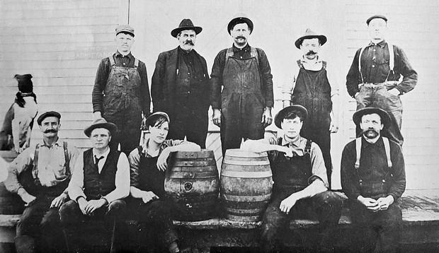 Humboldt County Brewing Company at Broadway and Harris staff in 1909. - HUMBOLDT COUNTY HISTORICAL SOCIETY