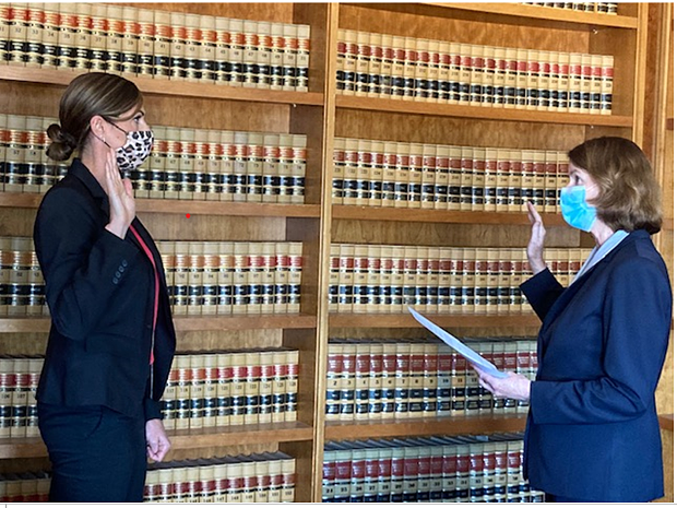 Kyla Baxley is sworn in as the chief investigator by District Attorney Maggie Fleming. - COUNTY OF HUMBOLDT