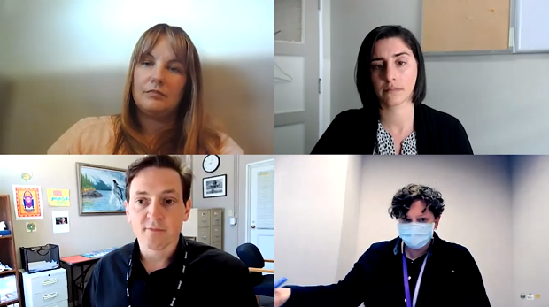 Clockwise from top left: Humboldt State University Director of Risk Management and Safety Services Cris Koczera, Emergency Operations Center Operations Chief Sofia Pereira, Joint Information Center spokesperson Meriah Miracle and Health Officer Ian Hoffman. - SCREENSHOT
