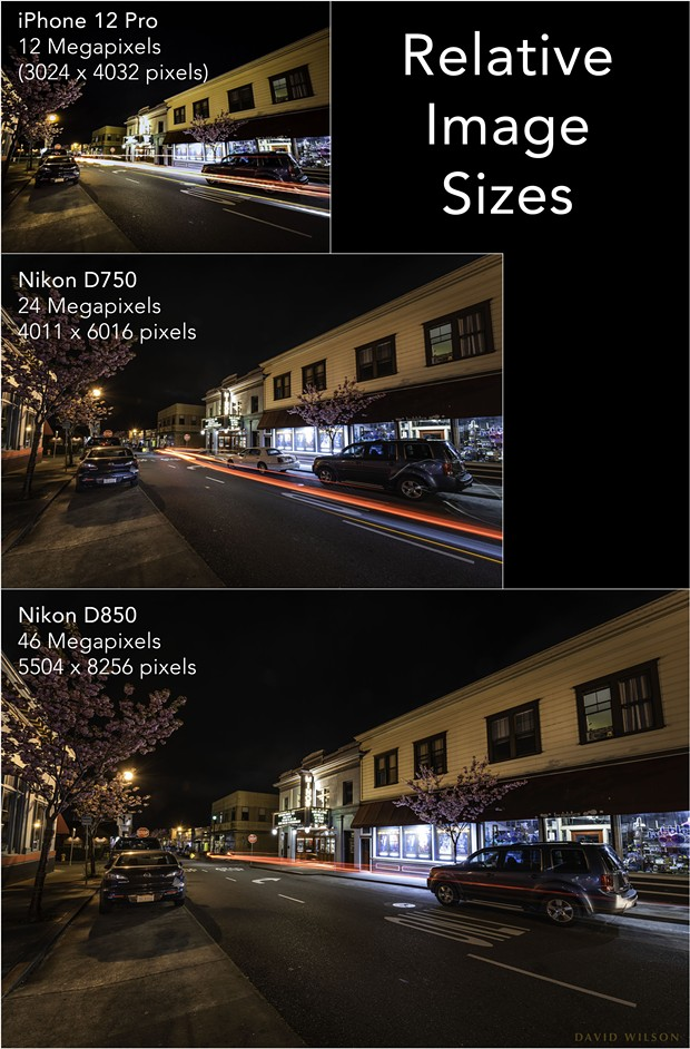 The relative sizes of the images produced by the three cameras in this comparison have a bearing on how much the images can be enlarged as prints. Generally, higher resolution images produce better large prints — but size is not everything; even with a large enough image, if it is blurry or noisy it will produce a low quality enlargement. - DAVID WILSON