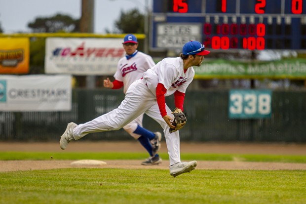 Crabs shortstop Aaron Casillas (#3) transfers the ball from his glove to his throwing hand while making a play on a ground ball against the visiting Seattle Studs on June 20, 2021 at Arcata Ballpark. - THOMAS LAL