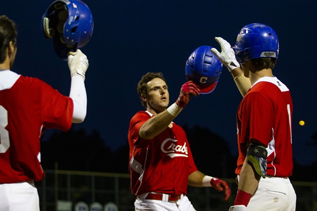 Crabs first baseman Gabe Giosso (#17) celebrates with teammates after hitting his second of two home runs night against the Redding Tigers at Arcata Ballpark on June 22, 2021. - THOMAS LAL