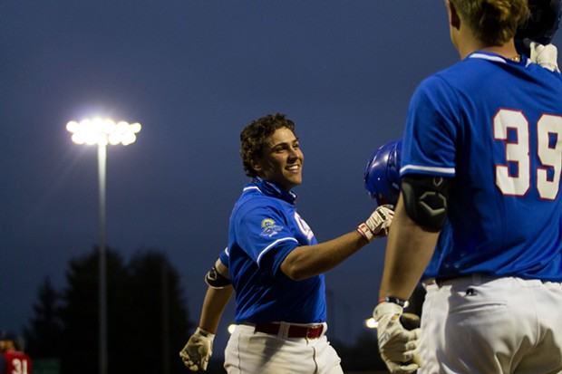 Crabs second baseman Ethan Fischel (#12) celebrates after hitting a home run in the bottom of the sixth inning against the Redding Tigers on June 23, 2021 at Arcata Ballpark. - THOMAS LAL
