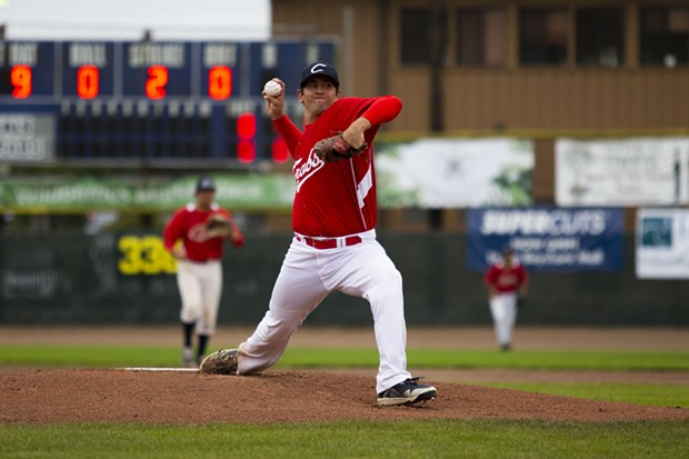 Crabs starting pitcher Kaden Riccomini (No. 31) throws a pitch during the first inning of the Crabs' game against Seals Baseball on July 9, 2021 at Arcata Ballpark. Riccomini would give up just four hits and strike out four in six innings of work for the win. - THOMAS LAL