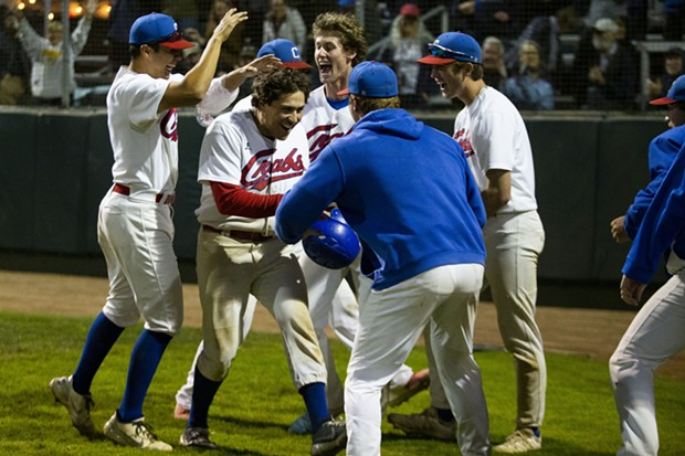Crabs second baseman Ethan Fischel celebrates with teammates after hitting a home run back to back with first baseman Gabe Giosso in the bottom of the eighth inning on July 21, 2021 against the Redding Tigers. - THOMAS LAL