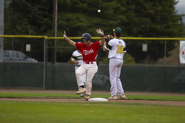 Crabs catcher Dylan McPhillips dances on second base after hitting a double against the Fresno A's at Arcata Ballpark on July 31, 2021. - THOMAS LAL