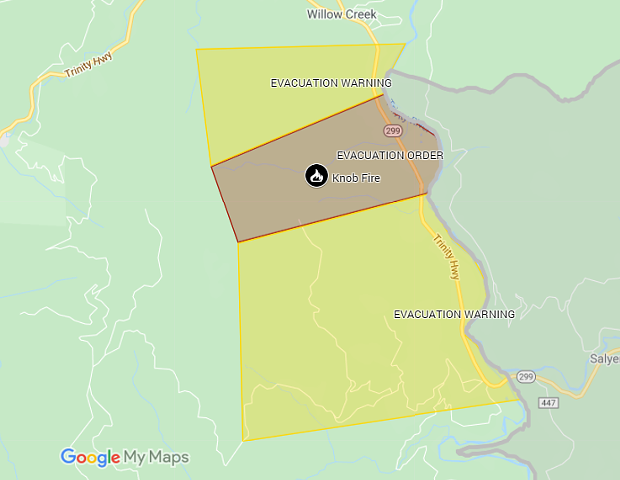 The current evacuation map for the Knob Fire. - HUMBOLDT COUNTY SHERIFF'S OFFICE