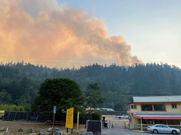 Smoke from the Knob Fire seen from State Route 299 yesterday evening. - U.S. FOREST SERVICE FACEBOOK