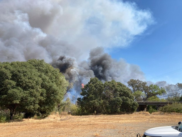 A Sept. 12 picture of the Hopkins Fire looking east in the area of Moore Street and Eastside Calpella Road in Calpella. - MENDOCINO COUNTY SHERIFF'S OFFICE