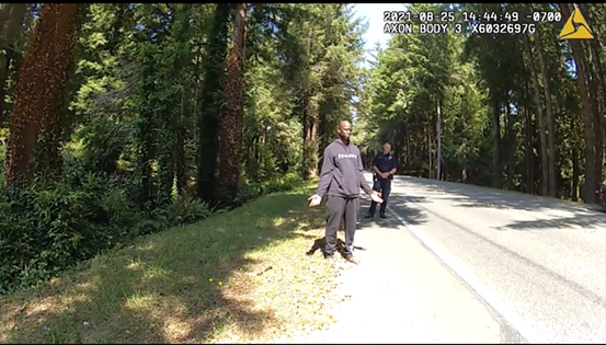 At points in speaking to officers, Robert Anderson seemed to address a woman at the scene standing down the road. - SCREENSHOT