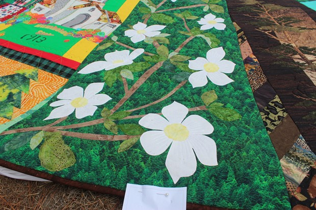 """Jeanne O'Neale's panel """"Pacific Dogwood."""" - PHOTO BY YARA HAILEY, COURTESY OF REDWOOD EMPIRE QUILTERS GUILD"""