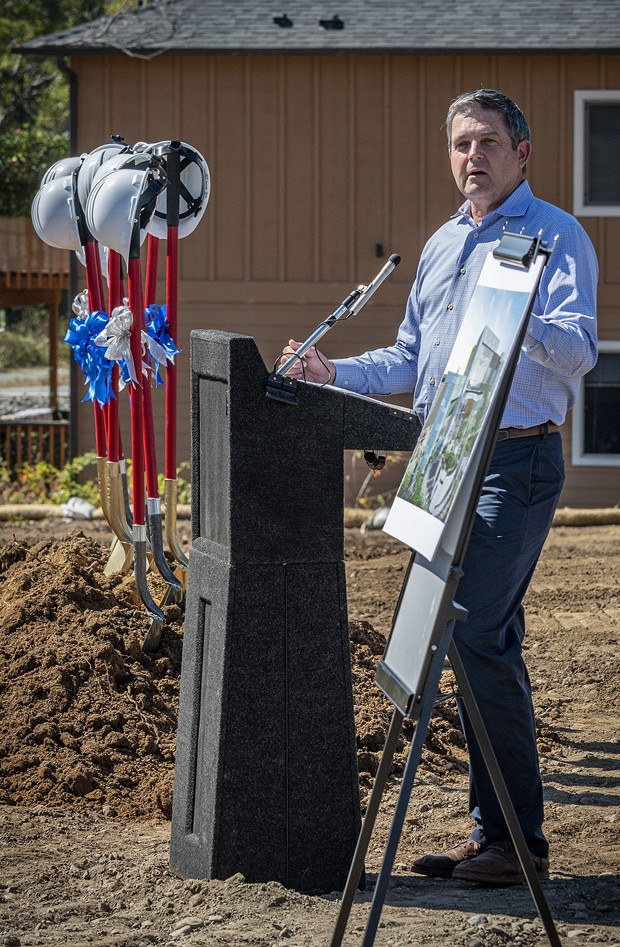 Assemblymember Jim Wood spoke at the groundbreaking event and recalled his memories of Herrmann Spetzler, the late, long-time president of Open Door Community Health Centers, and his dreams of one day building a new Arcata Community Health Center building. - MARK LARSON