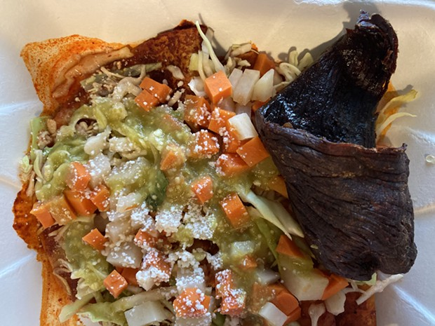 Enchiladas Michoacanas with a curl of flash-fried dried beef. - PHOTO BY JENNIFER FUMIKO CAHILL