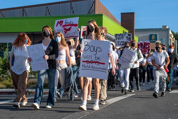 Hundreds of Arcata High School students walked out of class Wednesday to show support and stand in solidarity with victims of sexual assault, marking the third straight day of walkouts by students in Humboldt County following allegations of a sexual assault by a Fortuna High School student in August. - MARK MCKENNA