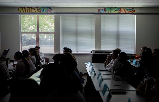 Students at Piner High School in Santa Rosa listen to their instructor on the first day of AP European History on August 14, 2019. - PHOTO BY ANNE WERNIKOFF, CALMATTERS
