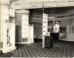Curves and lights in the lobby, circa 1939-1949. - COURTESY OF CHUCK PETTY AND THE EUREKA CONCERT AND FILM CENTER