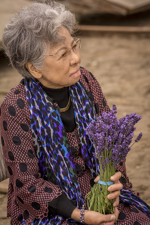 """Hiroshima atomic bomb survivor Shigeko Sasamori, of Marina Del Rey, paused for a moment near the Golden Rule prior to its launching on Saturday, June 20 at the Zerlang & Zerlang boat yard on the Samoa peninsula. She ended her short speech with a plea:  """"Never happen again.  Never happen again. Never happen again. Golden Rule is an education peace boat."""" - MARK LARSON"""
