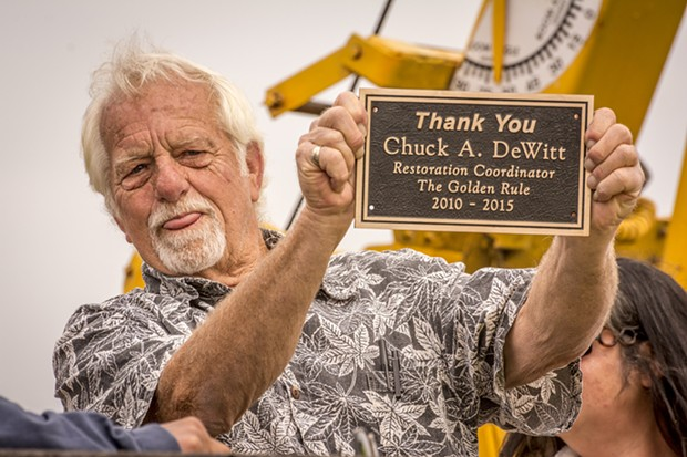 Chuck DeWitt, of Fairhaven, was presented with a thank-you plaque for his role as the restoration coordinator of the Golden Rule prior to its launching on Saturday, June 20 at the Zerlang & Zerlang boat yard on the Samoa peninsula. - MARK LARSON