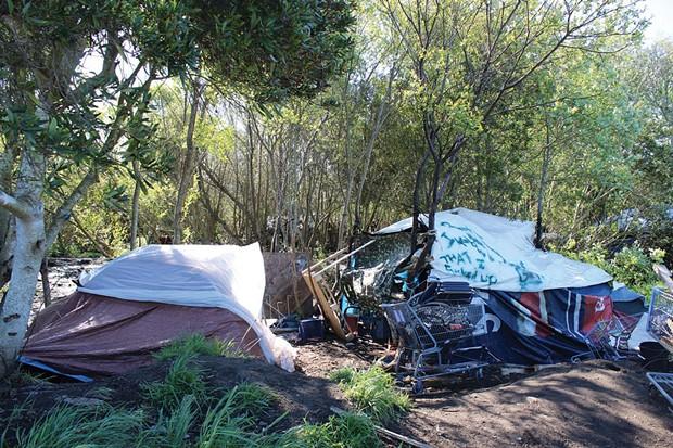 An illegal camp behind the Bayshore Mall. - THADEUS GREENSON