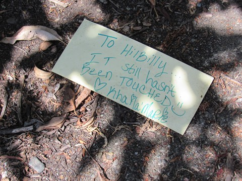 """Marsh residents created a makeshift memorial for Kenneth """"Hillbilly"""" Eldeen at the place where he passed. - LINDA STANSBERRY"""