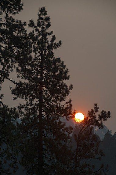 Hazy skies above the Mad River Fire. - MARK MCKENNA
