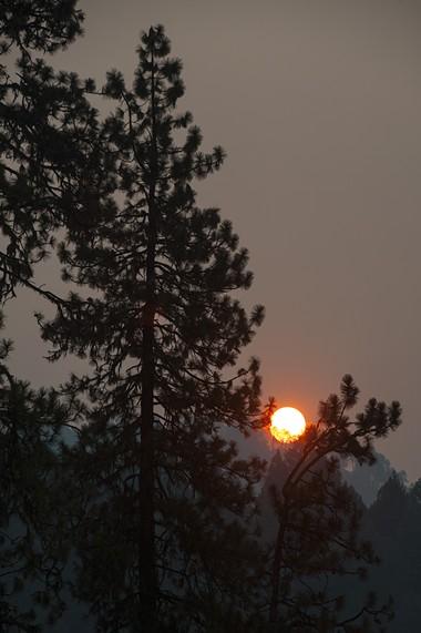Hazy skies above the Mad River Fire. - MARK MCKENNA