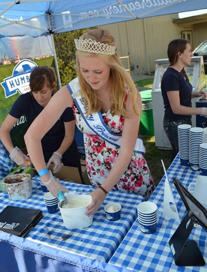 Dairy Princess Sarah Richardson scoops away. - GRANT SCOTT-GOFORTH