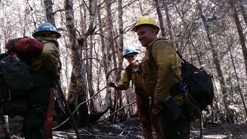 Sawyer team, assessing hazard trees. Jaqcuelyn Trappe, Monte Dieckman, Brock McCullough (USFS). - CEDAR LONG, C-1, CCC