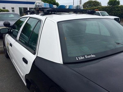 Captain Steve Watson of the EPD recently tweeted a photo of his squad car bearing the sticker. - EUREKA POLICE DEPARTMENT