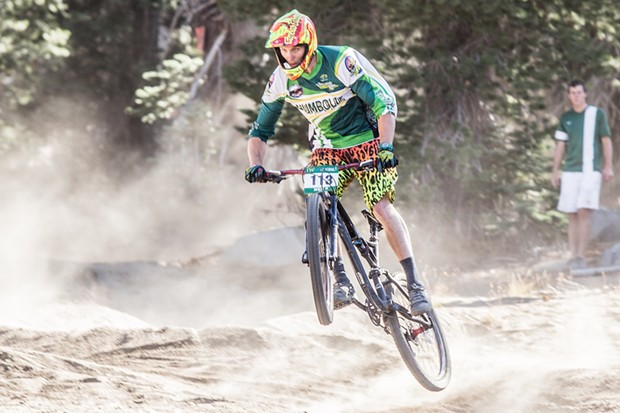 Bo Hellams winning the men's B category dual slalom race at the Sky Tavern Sufferfest competition. - ALEXANDER WOODARD