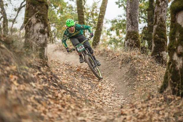 Tyler Green racing in the men's A category super-d event at Lacks Creek, Humboldt's home competition. - ALEXANDER WOODARD