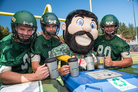 HSU Jacks and their mascot Lucky pose with reusable cups. - SUBMITTED