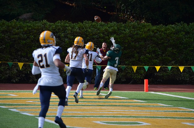 Wide receiver Chase Krivashei pulls in a touchdown pass. - GRANT SCOTT-GOFORTH