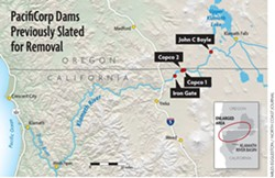 PacifiCorp's four hydroelectric dams that are once again slated for removal under a new agreement announced today. (Click to enlarge.)