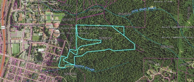 A parcel map details exactly where the property is in relation to HSU and Community Forest.