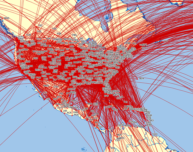The U.S. is a mess of interconnecting air routes except, as this map illustrates, the Pacific Northwest. - COURTESY OF EMILY JACOBS