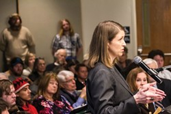 Focus Strategies Founder Megan Kurteff Schatz addresses a joint meeting of the Eureka City Council and the Humboldt County Board of Supervisors. - SUBMITTED PHOTO