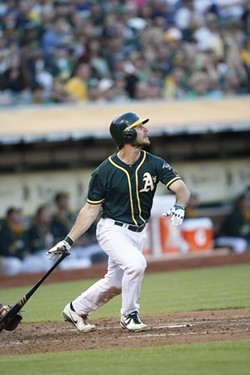 John Jaso, swinging for the Oakland Athletics. - SUBMITTED