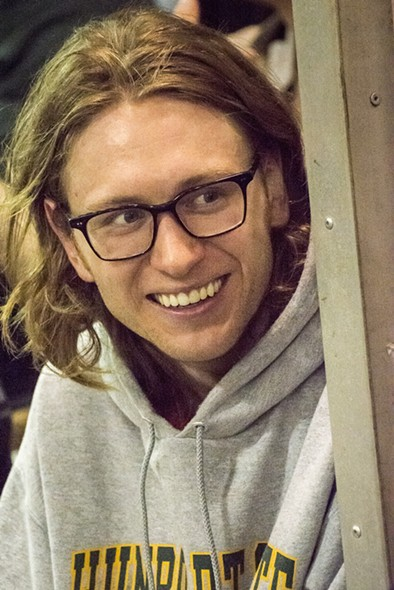 Brett Walters off duty, back in his glasses and hoodie. - MARK LARSON