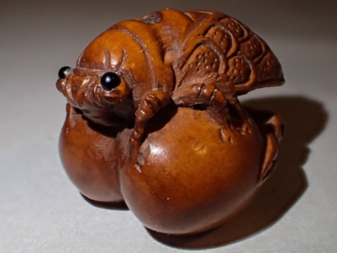 A wooden Japanese cicada carving reflects its importance as a cultural symbol. - ANTHONY WESTKAMPER