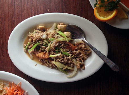 Thai surf and turf: snapper and ground pork. - JENNIFER FUMIKO CAHILL