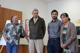 (From left to right) HumCPR co-founder and county Planning Commissioner Lee Ulansey, Eureka Mayor Frank Jager, HumCPR Executive Director Alec Ziegler and Betty Chinn at the April 13 press conference. - THADEUS GREENSON