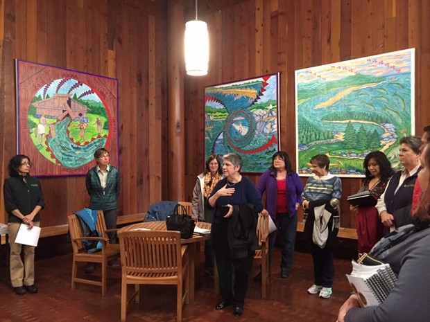 Janet Napolitano addresses a group in the lobby of the Potawot Health Village. - GRANT SCOTT-GOFORTH