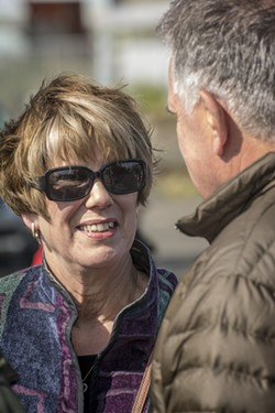 Jacque Smith spoke with Ron Fritzsche, who served with Jimmy Smith on the Humboldt Bay Harbor District, prior to the memorial. - MARK LARSON
