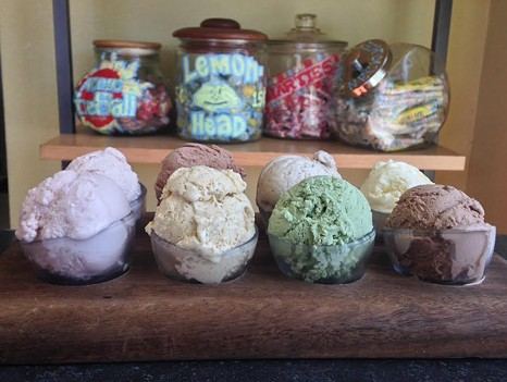 Back row: Strawberry, chocolate orange, Mexican coffee, pineapple orange. Front row: Coco rose, salted pistachio, green tea, chocolate banana. - JENNIFER FUMIKO CAHILL